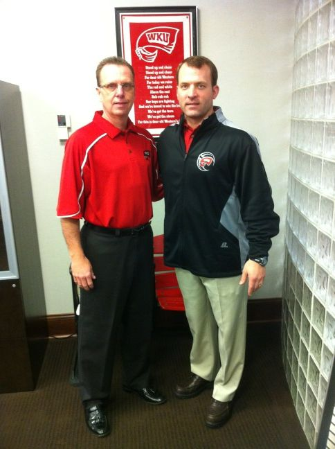 WKU Head Coach Ray Harper poses with Athletics Director Ross Bjork. Bjork posted this photo on his Twitter page as a way to announce that Harper would be named the new full-time head coach for WKU. Bjork added this message with the tweet: