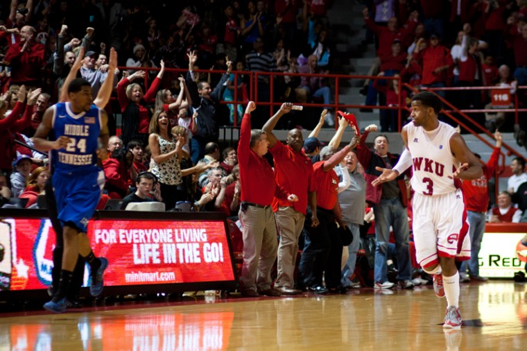 Senior guard Kahlil McDonald acknowledges the crowd after scoring a basket during Saturdays senior night basketball game at Diddle Arena. McDonald scored 10 points including the games last 2 points to help WKU beat MTSU, 73-67.