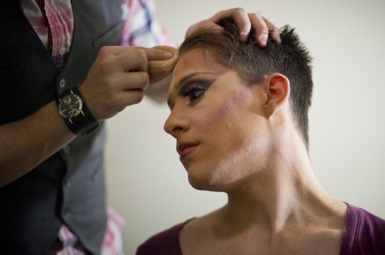 Dustin Dennis, 20, of Bowling Green, also known as Skylar Marie, gets help with his make-up from his boyfriend, James OÕNeal. Both Dennis and OÕNeal perform as drag queens. Dennis got his start this past July and said some people are accepting of it. ÒCampus is accepting, but outside of it is not,Ó he said.