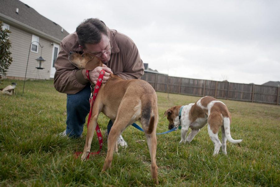 Tim Straubel, a professor of German, hugs his dog Maggie while Owen eats grass. ÒOwen, why are you doing that? WhatÕs with the grass today?Ó Straubel asked his dog.