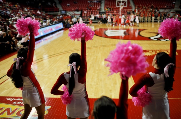 The+women%E2%80%99s+cheerleading+squad+used+pink+pompoms+in+support+of%0Abreast+cancer+awareness+during+the+Lady+Topper+basketball+game+Feb.%0A4+in+Diddle+Arena.+Assistant+Coach+Joni+Hall+was+diagnosed+with%0Abreast+cancer+in+May+2011+and+is+still+going+through+chemotherapy%0Atreatments.+%E2%80%9CBeing+a+coach+has+made+the+past+year+a+lot+easier%2C%E2%80%9D%0AHall+said.+%E2%80%9CI%E2%80%99ve+gotten+a+lot+of+support+from+the+team+and+their%0Afamilies.%E2%80%9D%0A