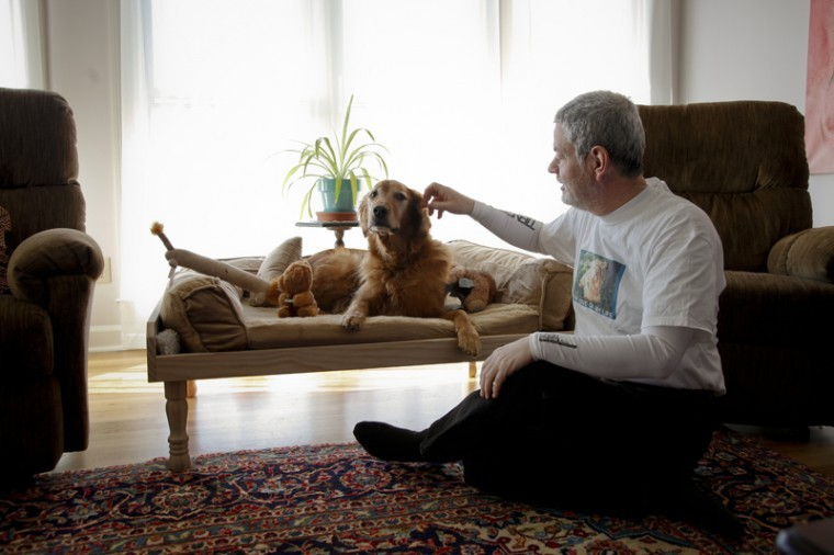 """Peter Hamburger, the head of the mathematics and computer science department, built a couch especially for his golden retriever, Lily. """"I've had many dogs, but she's by far the best,"""" he said. """"She is my valentine."""""""