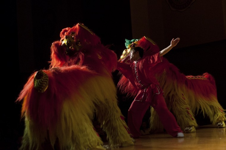 A+group+of+dancers+perform+the+dragon+dance+on+stage+in+the+Downing+University+Center+auditorium+Wednesday.+The+dragon+dancers+traveled+from+Hubei+University+to+perform+at+WKU.%0A