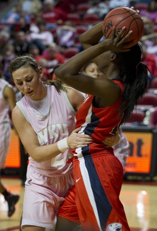 Sophomore+Chaney+Means+fouls+late+in+the+second+half+against%0ASouth+Alabama+Saturday+at+Diddle+arena.+WKU+lost+to+USA+56-52.%0A