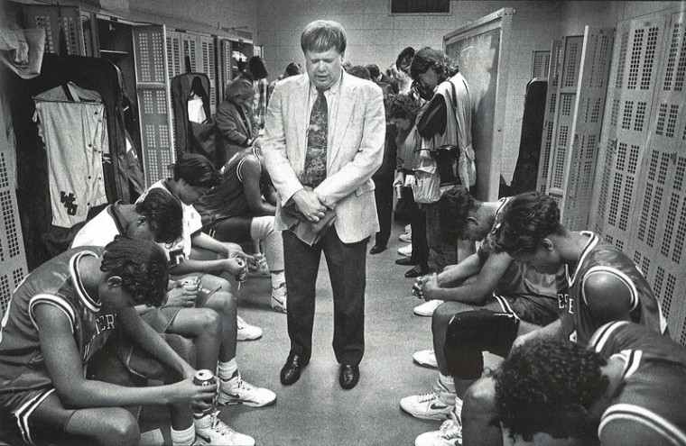 The+Lady+Toppers+pray+with+Head+Coach+Paul+Sanderford+in+West%0ALafayette%2C+Ind.%2C+after+defeating+Maryland+in+the+regional+finals+of%0Athe+1992+NCAA+tournament.+WKU+went+on+to+beat+Southwest+Missouri%0AState+before+losing+to+Stanford+in+the+national+championship.%0A