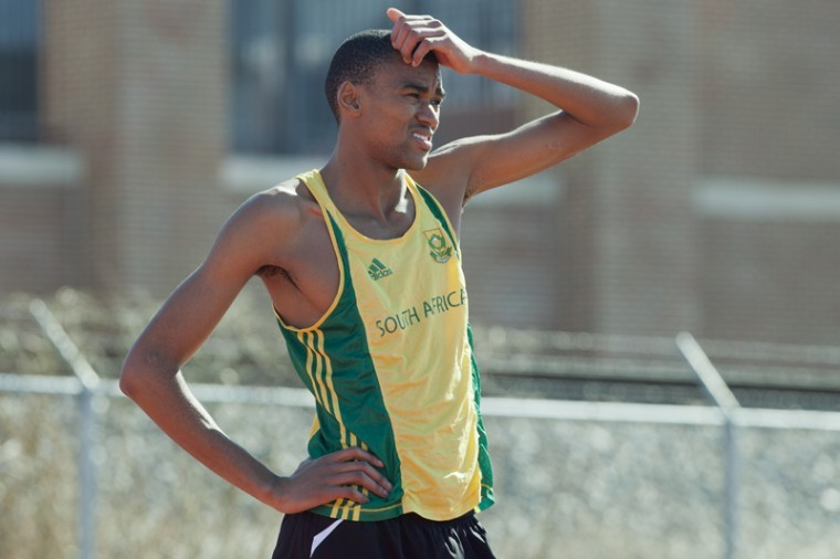 Sophomore+David+Mokone+takes+a+break+during+practice+Monday+at+Ruter+Track+and+Field+Complex.+Mokone+has+broken+the+school+record+for+the+800-meter+twice+and+will+compete+in+the+Sun+Belt+Conference+championships+this+weekend+with+the+rest+of+the+track+team.%0A