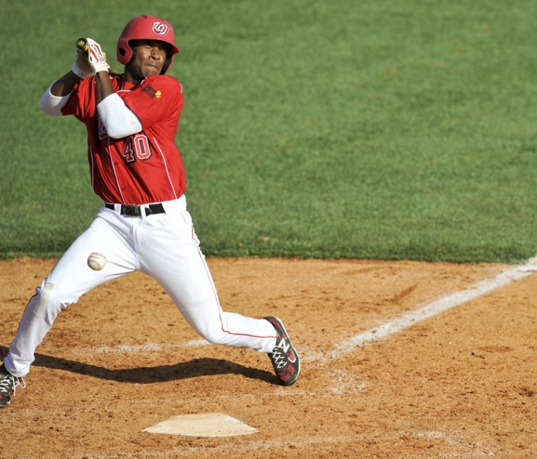 WKU+Sophomore+David+Simmons+is+hit+by+a+pitch+during+WKU%27s+13-1+win+over+Butler+Tuesday+afternoon+at+Nick+Denes+Field.%0A