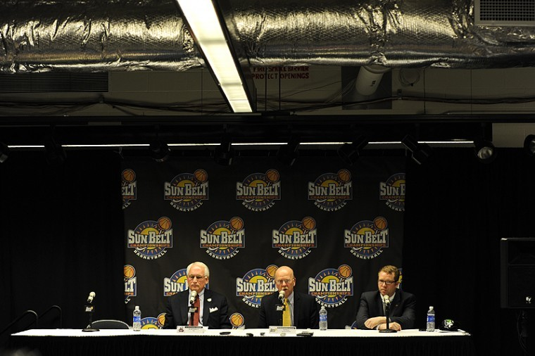 New Sun Belt Conference Commissioner Karl Benson is talks at the Sun Belt Conference Tournament on Saturday, March 3 in Hot Springs, Ark. Benson said he hopes to see the Sun Belt return to sending multiple teams to the NCAA Tournament each year.