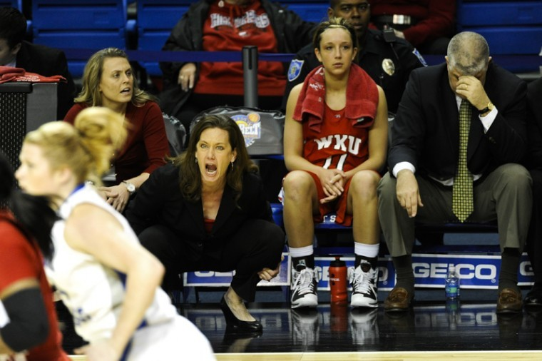 Head+Coach+Mary+Taylor+Cowles+yells+at+her+team+at+the+Sun+Belt+Conference+Tournament+against+FIU+on+Sunday%2C+March+4+in+Hot+Springs%2C+Ark.+WKU+lost+65-57.+Cowles+responded+to+questions+about+her+future+as+WKUs+head+coach+following+the+loss.%C2%A0My+passion+is+to+coach+basketball%2C+she+said.+If+thats+their+decision%2C+well+move+forward.%0A