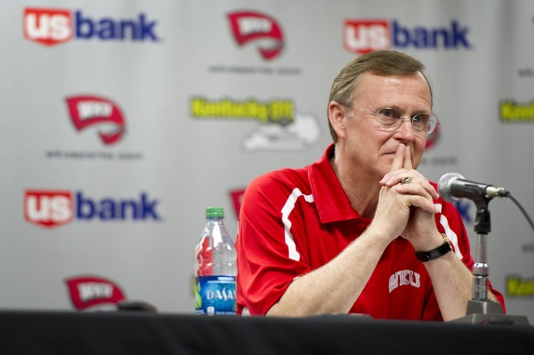President+Gary+Ransdell+speaks+about+WKU+athletic+director+Ross+Bjork%E2%80%99s+move+to+the+same+position+at+Ole+Miss+on+Wednesday+in+Diddle+Arena.%0A