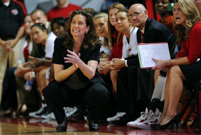 WKU+head+coach+Mary+Taylor+Cowles+directs+her+team+during+their+game+against+Troy+on+Saturday%2C+Jan.+7+in+Diddle+Arena.+The+Lady+Toppers+won+64-38.%0A