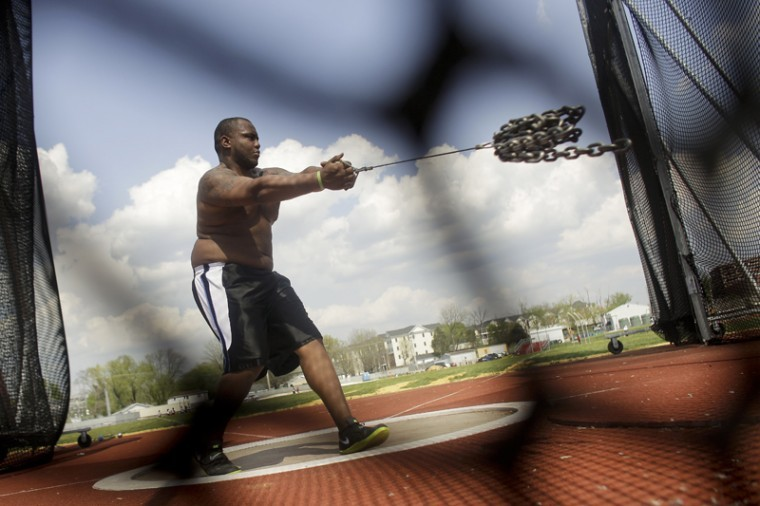Hopkinsville junior Houston Croney, a thrower on the track and field team, practices by throwing chain links at the Ruter Track and Field Complex on Wednesday.