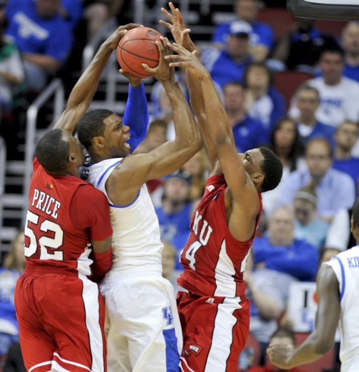 Freshman+guard+T.J.+Price+and+freshman+forward+George+Fant+try+to+steal+the+ball+from+Kentucky+forward+Terrence+Jones+during+the+teams%27+NCAA+Tournament+game+at+the+KFC+Yum%21+Center+in+Louisville+on+Thursday+night.+UK+won+81-66.%0A