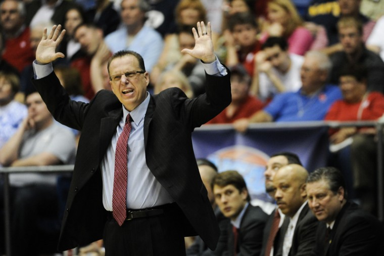 Head+coach+Ray+Harper+shouts+instructions+to+his+team+during+the+second+half+of+their+game+against+Mississippi+Valley+State+at+the+University+of+Dayton+Arena+on+Tuesday+night.+WKU+have+back+to+win+59-58.%0A