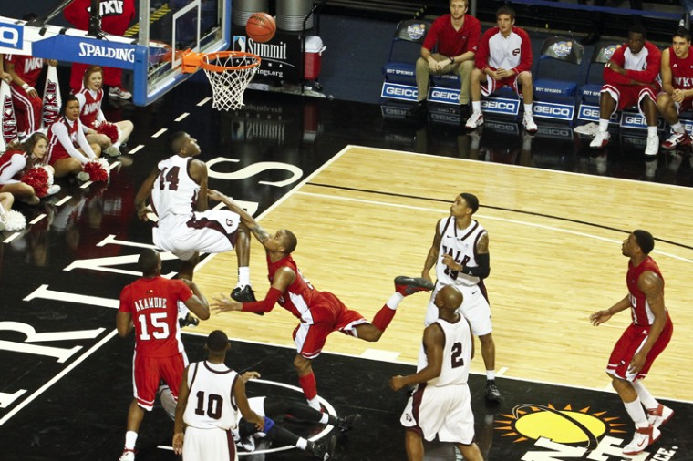 Freshman guard Derrick Gordon throws up a shot at the Sun Belt Tournament against UALR on Sunday, March 4 in Hot Springs, Ark. Gordon scored 25 points to help WKU win 68-63.