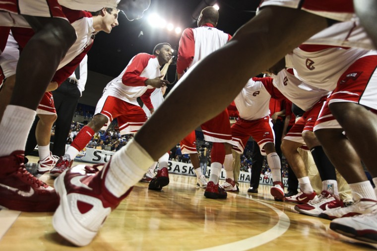 WKU players get pumped up before the Sun Belt Tournament Championship game on March 6. WKU beat North Texas 74-70 to win the Sun Belts automatic bid to the NCAA Tournament. Most projections have the Toppers as a 16 seed playing in the First Four game in Dayton, Ohio.