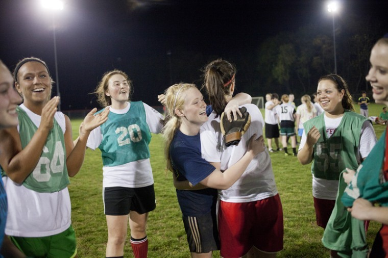 Freshman+keeper+Meaghan+Dunn+hugs+senior+Morgan+King+after+their+team%2C+Emanon%2C+wins+the+Intramural+Women%E2%80%99s+Soccer+Final+Wednesday+at+the+Preston+Complex.+Emanon+beat+Chaos+after+a+series+of+penalty+kicks.%0A