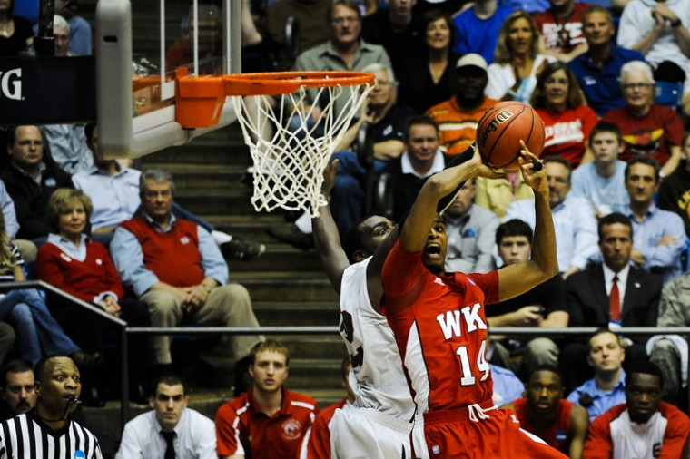 Junior+Jamal+Crook+puts+the+ball+up+over+Mississippi+Valley+State+Tuesday+at+the+University+of+Dayton+Arena+in+Dayton%2C+Ohio.+WKU+beat+MVSU+59-58.%0A