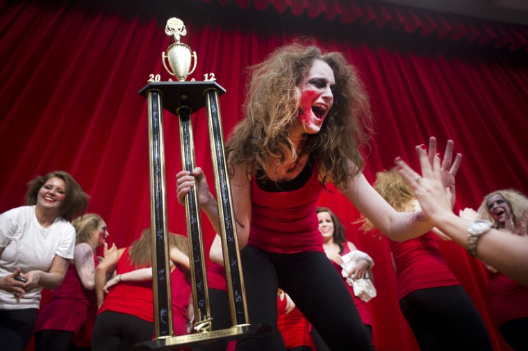 Kappa+Delta+celebrates+after+winning+the+10th+Annual+Unity+Step+Show+presented+by+Kappa+Sigma+Thursday+evening+in+the+Downing+University+Center+Auditorium+with+their+zombie+themed+dance.+Proceeds+from+the+night+went+to+the+March+of+Dimes%2C+an+organization+that+%22helps+moms+have+full-term+pregnancies+and+research+the+problems+that+threatens+the+health+of+babies.%22%0A