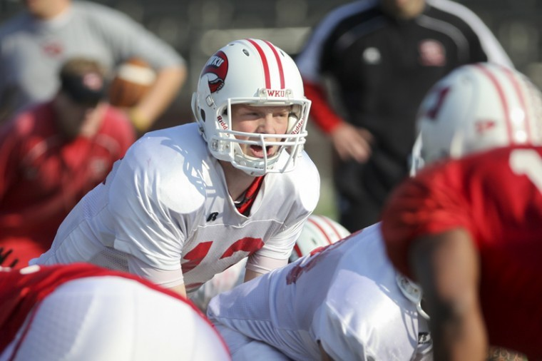 Freshman+quarterback+James+Mauro+yells+to+his+offensive+line+during+practice+on+Wednesday+morning.%0A