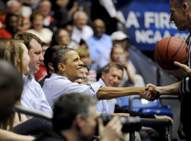 President+Barack+Obama+shakes+hands+with+a+referee+during+the+First+Four+game+between+WKU+and+Mississippi+Valley+State+Tuesday+at+the+University+of+Dayton+Arena+in+Dayton%2C+Ohio.+WKU+beat+MVSU+59-58.%0A