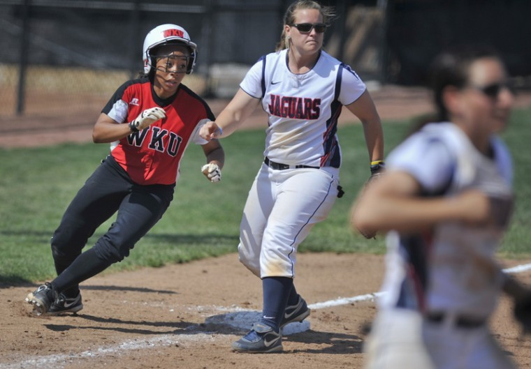 Sophomore pinch runner, Tiffany Gooch, advances to 3rd base after a base hit against South Alabama on Sunday afternoon at WKU Softball Field. WKU won 5-4 .