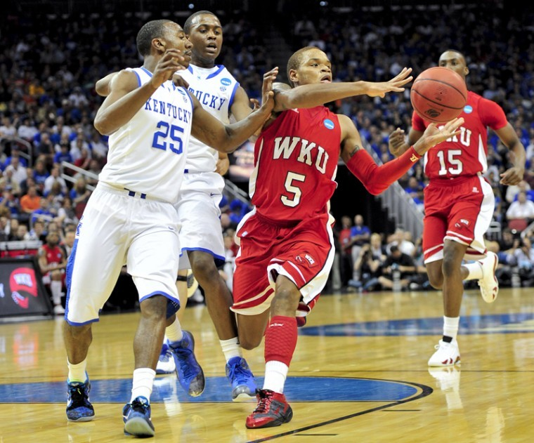 Freshman guard Derrick Gordon catches a pass during their first-round NCAA tournament game between WKU and UK at the YUM! Center in Louisville on Thursday. UK beat WKU 81-66.