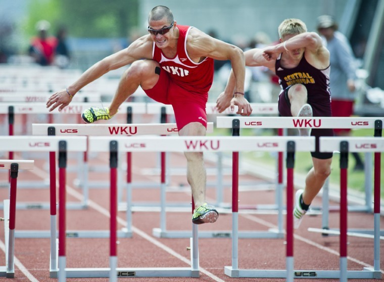 Junior hurdler Karlis Daube (right) completes hurdles at the Hilltopper Relays Saturday at the Ruter Track and Field Complex. Since Head Coach Erik Jenkins took over at WKU four years ago, the track team has won seven Sun Belt Conference titles. They will compete for their eighth title May 11 - 13 in Louisiana.