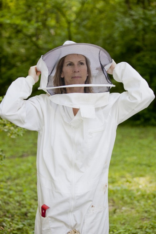 """WKU alumna Elizabeth Easton Forbes of Bowling Green has been doing apiculture for three years, collecting bees and maintaining them in their honey bee colonies. 150 people attended the screening of the 2009 documentary """"Vanishing of the Bees"""" that she hosted Friday in Mass Media Auditorium."""