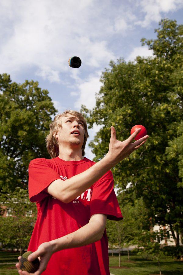Westmoreland, Tenn., freshman Kory Sinn has been juggling for three years and often juggles while walking between classes.