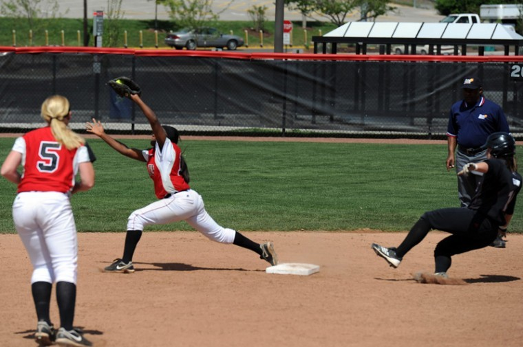Second baseman Olivia Watkins ended the fourth inning when she covered second base for shortstop Amanda Thomas in WKU's win over Troy on Saturday.