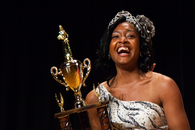 WKU freshman AshLeigh Foster, from Madisonville, reacts after being crowned the winner of the 2012 Miss Black Western pageant held in DUC auditorium on Friday.