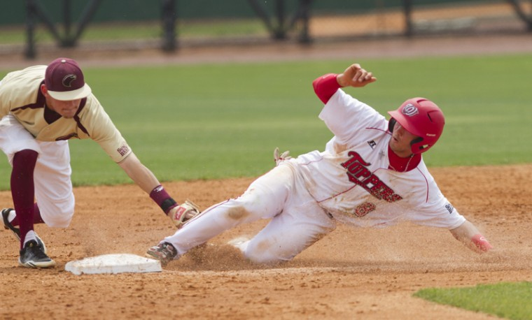 Junior Steve Hodgins steals second during a game against Louisiana-Monroe Sunday at Nick Denes Field. WKU lost 7-6.