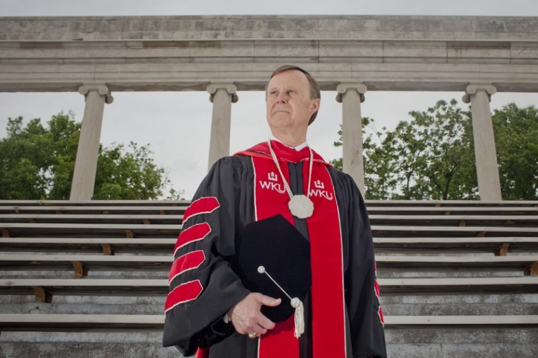 President+Gary+Ransdell+stands+in+his+graduation+robes+at+the+colonnades+on+Thursday.+Ransdell+will+preside+over+the+graduate+ceremony+on+Friday%2C+May+11%2C+and+three+undergraduate+ceremonies+on+Saturday%2C+May+12.%0A