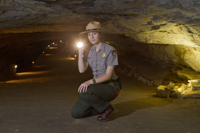 """Celia Baker, a junior biology and chemistry double major from Louisville, is a park ranger at Mammoth Cave National Park. """"I mostly work the weekends. I love the people, all the history, and the cool places you get to go off the trails as an employee,"""" she said."""
