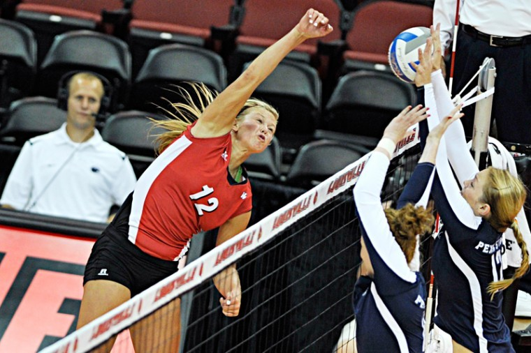 Senior+Jordyn+Skinner+hits+the+ball+against+Penn+State.+WKU+lost+to+Penn+State+3-0+sets+at+the+Active+Ankle+Challenge+on+Aug.+25%2C+2012+at+KFC+Yum%21+Center.%0A