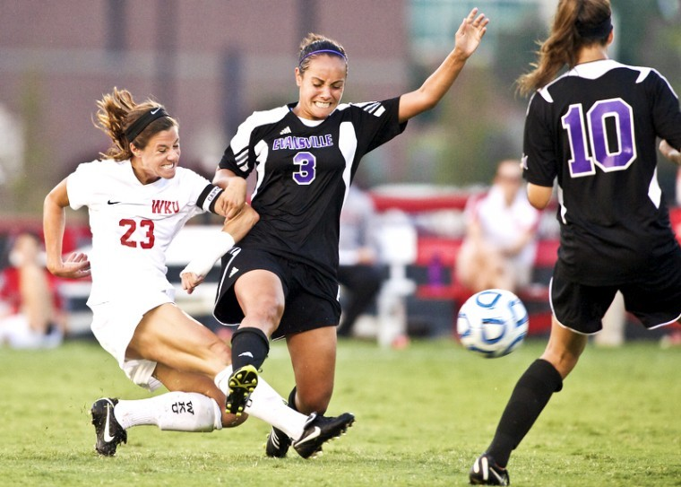 Western%27s+Amanda+Buechel%2C+left%2C+%C2%A0collides+with+Evansville%27s+Olivia+Robinson+during+the+game+at+the+WKU+Soccer+Complex.%C2%A0%2C+Aug.+17%2C+2012.%0A