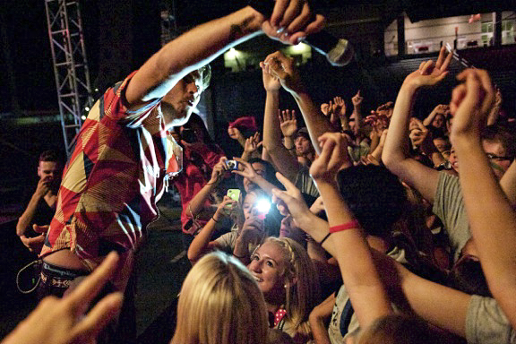 Sean Foreman sings to the crowd at the3OH!3 concert. 3OH!3 performed at WKU on Aug. 19, 2012.