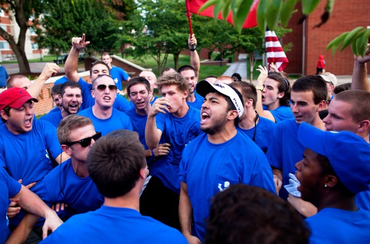 Pi+Kappa+Alpha+fraternity+celebrates+after+greeting+their+new+members+during+Bid+Day+on+Friday%2C+Aug.+31+at+Centennial+Mall.%0A