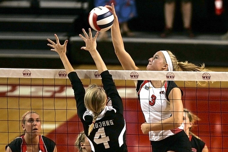 WKU sophmore Heather Boyan, attempts a kill during the Lady Toppers game against Troy. The Lady Toppers handled the Trojans 3-0.