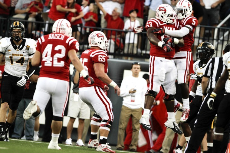 During+WKU%27s+home+game+vs.+Southern+Miss.+Antonio+Andrews+and+Luis+Polanco+rejoice+after+Andrews+scored+a+touchdown+at+Smith+Stadium%2C+Sept.+22%2C+2012.%0A