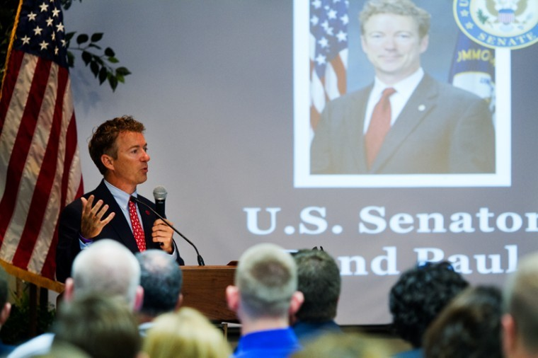 FILE PHOTO: U.S. Senator Rand Paul gives a speech at the Service Academy Information Fair at the Carroll Knicely Conference Center on Thursday.