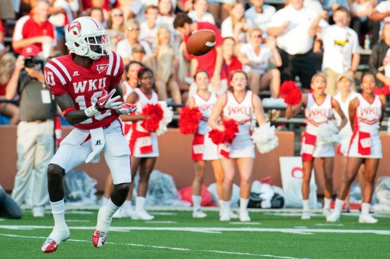 Sophomore+wide+receiver+Willie+McNeal+catches+a+pass+in+the+end+zone+to+score+a+touchdown+during+the+game+Saturday%2C+September+1%2C+2012+at+Smith+Stadium.+Western+Kentucky+won+49-10.%0A