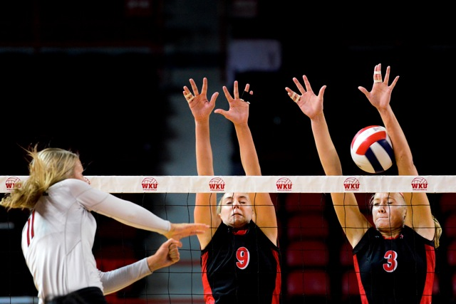 Junior+outside+hitter+Paige+Wessel%2C+left%2C+and+sophomore+middle+hitter+Heather+Boyan%2C+right%2C+%C2%A0failed+to+deflect+Ohio+State%27s+spike.+Western+Kentucky+University+Women%27s+Hilltopper+volleyball+team+lost+to+the+Ohio+State+University+Buckeyes+1-3+at+Diddle+Arena+on+Saturday%2C+September+28%2C+2012.%C2%A0%0A
