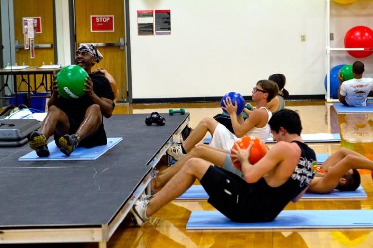 Clay+Smalley%2C+a+Group+X+fitness+instructor%2C+teaches+a+Cardio+Craze+aerobics+class+on+Thursday+at+the+Preston+Center.%0A