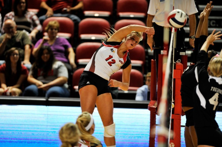 Senior+outside+hitter+Jordyn+Skinner+hits+the+ball+against+Troy.+%2324+WKU+volleyball+won+3-0+against+Troy+at+Diddle+Arena+on+Friday+Sep.+21%2C+2012.%0A
