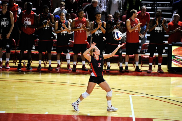 Junior+defensive+specialist+Ashley+Potts+serves+the+volleyball+to+win+the+first+set.+WKU+won+3-0+against+FIU.+WKU+had+their+Hilltopper+Hysteria+at+Diddle+Arena+on+Oct.+12%2C+2012.+JEFF+BROWN%2FHERALD%0A