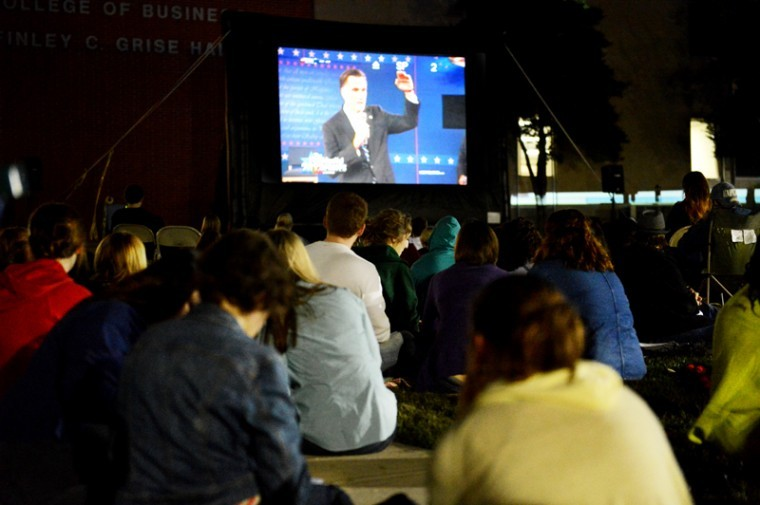 WKU students watch the second presidential debate on the Greise Hall lawn Oct. 16.