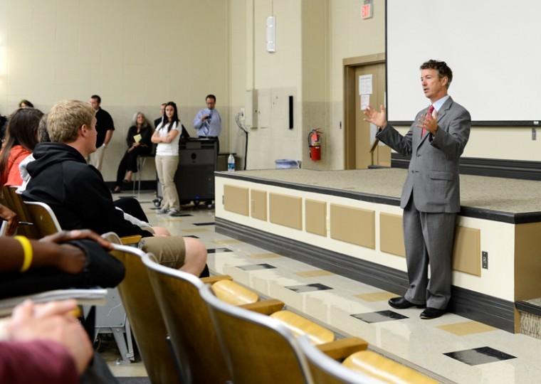 JON HERNANDEZ/HERALD Senator Rand Paul spoke at Grise Hall auditorium Monday Oct. 15.