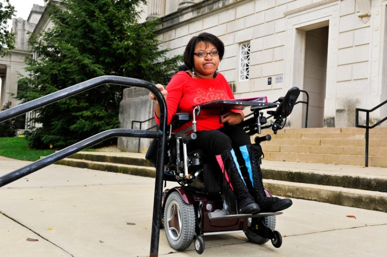 JEFF BROWN/Herald A WKU theater major, Megan Allen, is petitioning to get wheelchair access to Gordon Wilson where she has classes. They have to move my classes to Cherry Hall, said Allen.